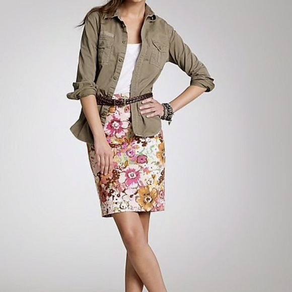 J. Crew Dresses & Skirts - J.Crew pink w multicolor watercolor floral skirt